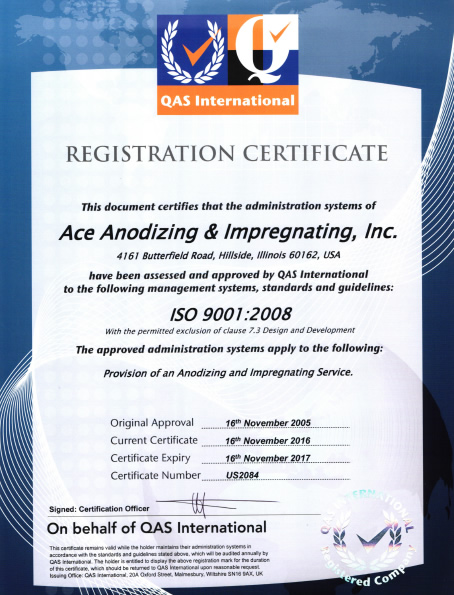 Ace Anodizing ISO Certifications