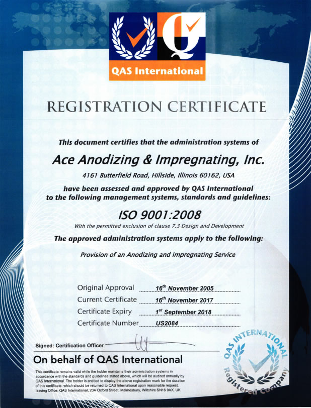 ISO Certificate ISO 9001:2008