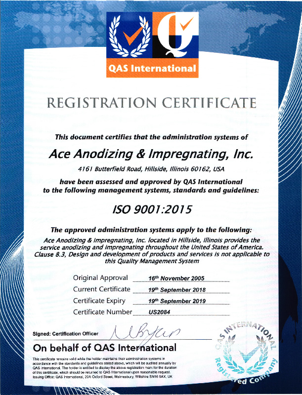 Certifications Ace Anodizing Impregnating Is Iso Certified